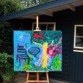 let the bird sing. afmeting 120x100. acryl. op zware kwaliteit doek gepannen op een stevig frame. veel verf en zijkanten zijn meegeschilderd dit doek kan zo aan de muur. handgesigneerd en gedateerd. prijs op aanvraag  verkocht