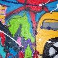 leaving town, afmeting 115x75 gespannen op stevig frame. er is veel verf gebruikt, de zijkanten zijn meegeschilderd zodat dit werk zo aan de muur gehangen kan worden gedateerd en handgesigneerd. prijs op aanvraag.  VERKOCHT