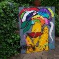 afm. 120x100 prachtig kleurrijk schilderij en dik in de verf. gespannen op zware kwaliteit doek en stevig frame. handgesigneerd en gedateerd. de zijkanten zijn meegeschilderd en dit doek kan daarom ook zo aan de muur. verkocht