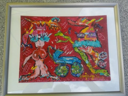 afm. 50 x  40 gesigneerd en gedateerd.  op Hahnenmuhle acrylpapier 330 gr in passe-partout en lijst. de koper van dit werk kiest de titel. deze titel zal officieel worden gearchiveerd.