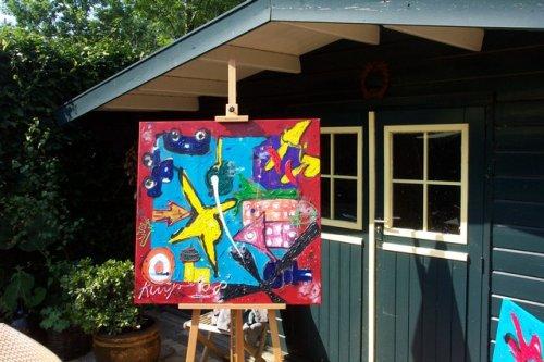 ode to chagall geschilderd op zwaar doek met veel verf om het effect van de lichtinval te vergroten.  zeer uniek werk. handgesigneerd en gedateerd. prijs op aanvraag