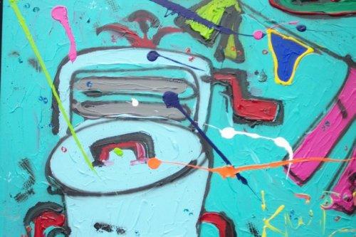 afm 100x80 zware kaliteit doek op stevig frame kleurrijk schilderij waarop veel verf is gebruikt. zijkantenzijn meegeschilderd gedateerd en handgesigneerd prijs op aanvraag