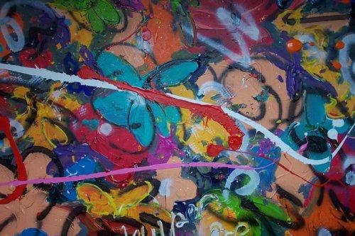 spring afmeting100x70 dit doek neigt naar een abstracte vorm. handgesigneerd en gedateerd.  VERKOCHT