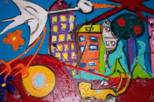 the aegle has landed afmeting 115x75 gespannen op stevig frame zijkanten zijn meegeschilderd zodat dit werk zo aan de muur kan. dit werk zit dik in de verf handgesigneerd en gedateerd. prijs op aanvraag  VERKOCHT