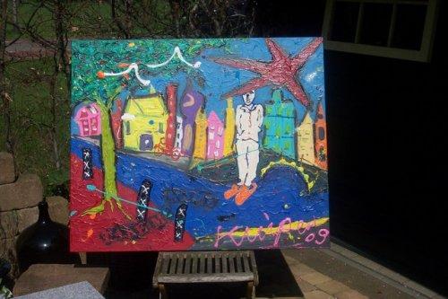 afm 120x100 een schitterend werk, kleurrijk en spannend geschilderd op zware kwaliteit doek en gespannen op een stevig frame. de zijkanten zijn meegeschilderd zodat dit werk zo aan de muur kan. gedateerd en handgesigneerd. prijs op aanvraag VERKOCHT
