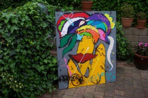 afm. 120x100 prachtig kleurrijk schilderij en dik in de verf. gespannen op zware kwaliteit doek en stevig frame. handgesigneerd en gedateerd. de zijkanten zijn meegeschilderd en dit doek kan daarom ook zo aan de muur. prijs op aanvraag
