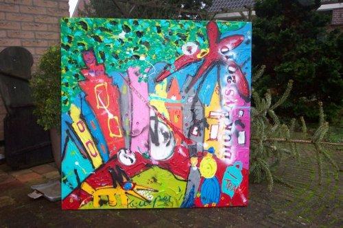 2010 afmeting 100x100  3D gemaakt tijdens het Dickensfestijn 2010 in Deventer afgemaakt in mijn atelier kleurrijk doek  goede kwaliteit materiaal. Zijkanten zijn meegeschilderd. gesigneerd en gedateerd  door flits fototoestel een beetje overbelicht in werkelijkheid mooier van kleur prijs op aanvraag