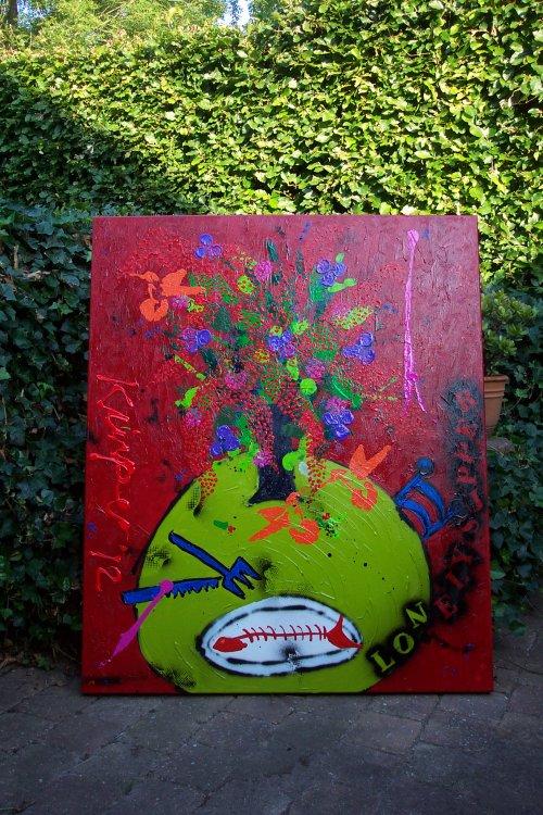2012 afm 120x100 zijkanten meegeschilders goede kwaliteit materiaal geigneerd en gedateerd komt op foto minder goed tot zijn recht omdat hij is gefototgrafeerd nadat het werk is gevanished.dan ontstaat een schittering. prijs op aanvraag